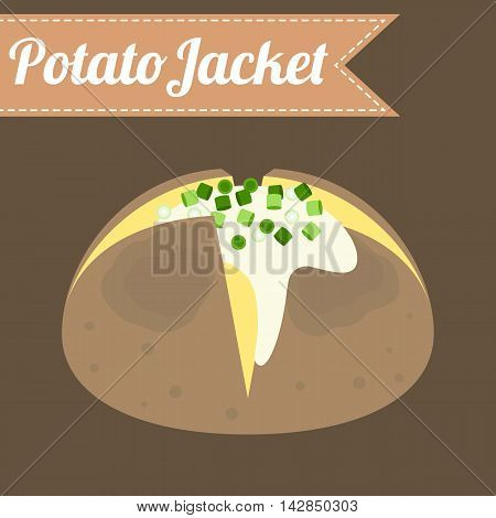 Vector potato jacket, flat design with name