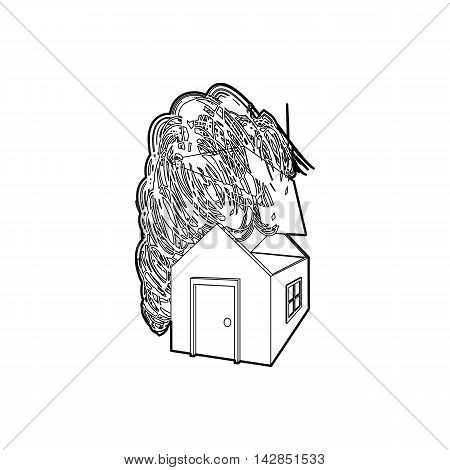 House destroyed by hurricane icon in outline style on a white background
