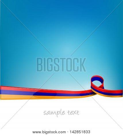 armenia ribbon flag on blue sky background