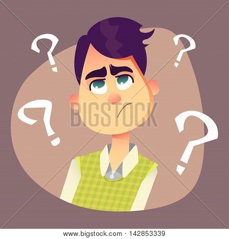 Purple haired man thinking about something disturbing. Funny cartoon illustration. Guy in office suit with question marks.