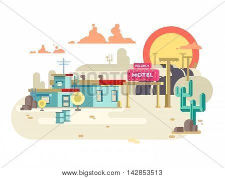 Motel flat design. Vacancy hotel, building architecture, vector illustration