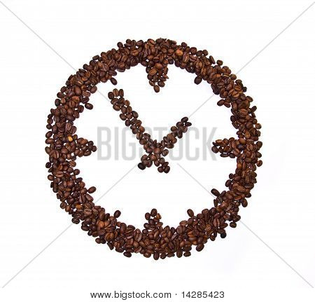 Coffee Beans Conventionalized To Clock