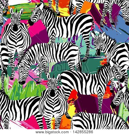 Composition of black and white zebra tropic animal in the jungle on colorful painting hand drawn background. Print seamless vector pattern art top summer in fashion styles
