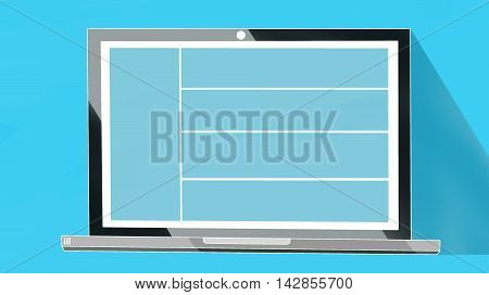 Laptop notebook or ultrabook with thin body Isolated on Blue Background with Blue screen. White edges