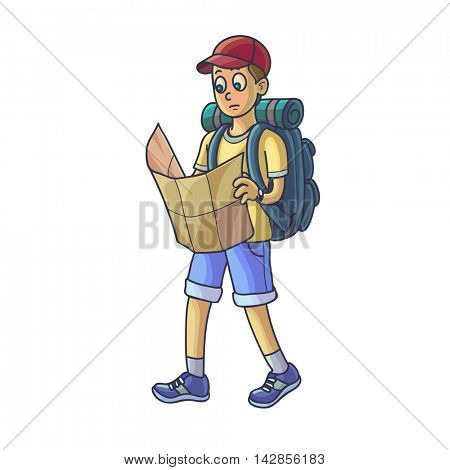 Hiking man. Travelling young man lost or walking looking at map. Vector illustration. Isolated on white.