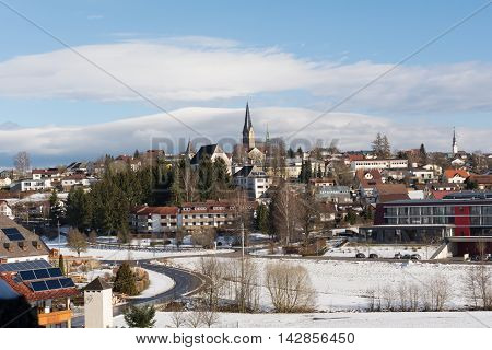 Winter view of the Municipality of Bad Leonfelden in Upper Austria