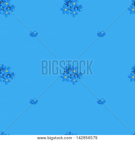 Floral seamless pattern with forget-me-not on blue background.