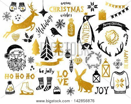 Hand drawn black and golden Christmas design elements