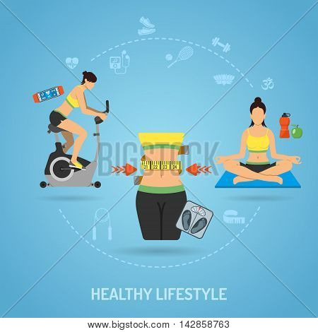 Healthy Lifestyle and Fitness Concept for Mobile Applications, Web Site, Advertising like Yoga, Exercise Bike, Food and Waist Flat icons. Vector illustration