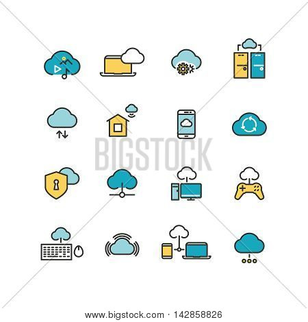 Syncing computer, cloud computing network, big data analysis, internet security line icons. Vector illustration