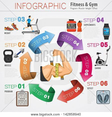 Healthy Lifestyle Infographics with Exercise Bike, Treadmill and Arrows Flat Icons. Vector illustration.