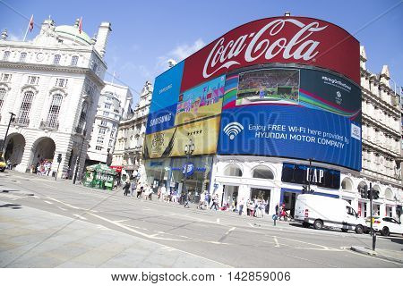 Big Screen Showing Adverts And Rio 2016 In Piccadilly Circus