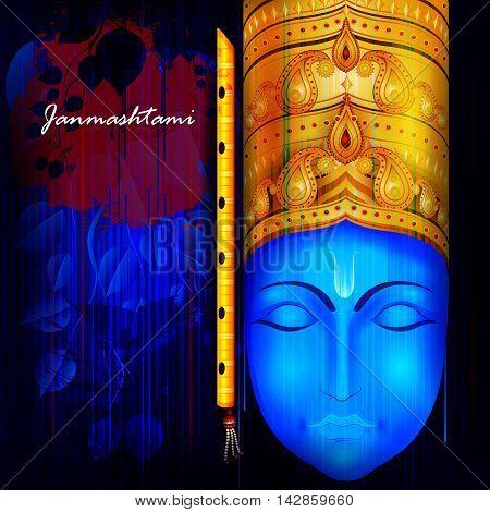 easy to edit vector illustration of Happy Krishna Janmashtami background