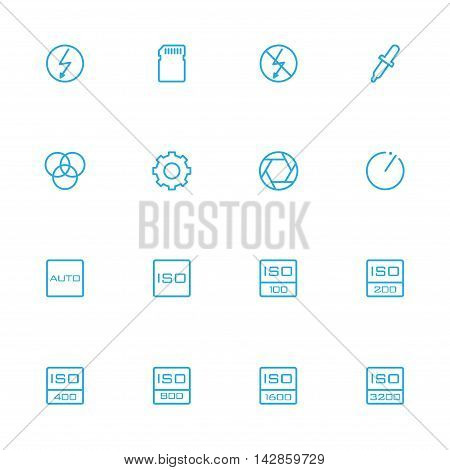 Photography control and setting blue line icons set
