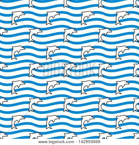 Seamless sea background. Hand drawn blue, white and black pattern. Suitable for fabric, greeting card, advertisement, wrapping. Bright and colorful waves and pod of dolphins seamless pattern