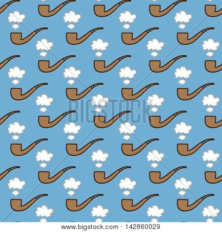 Seamless smoking pipe background. Hand drawn pattern. Suitable for fabric, greeting card, advertisement, wrapping. Bright and colorful tobacco pipe and puff of smoke seamless pattern