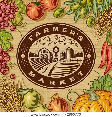 Vintage Farmers Market Label. Editable EPS10 vector illustration in retro woodcut style with clipping mask and transparency.