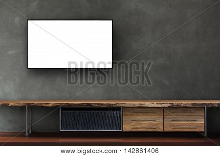 Led Tv On Concrete Wall With Wooden Media Furniture