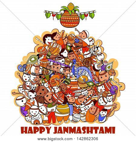 easy to edit vector illustration of Happy Krishna Janmashtami doodle background poster