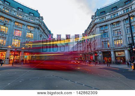 Traffic At Oxford Circus In London, Uk, At Dusk