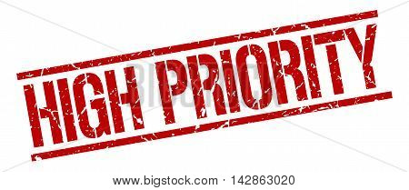 high priority stamp. red grunge square isolated sign