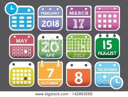 calendar icons for web design, calendar symbol, flat calendar, graphic element, web design, calendar sign, web icons, calendar set, icon set, calendar pictogram