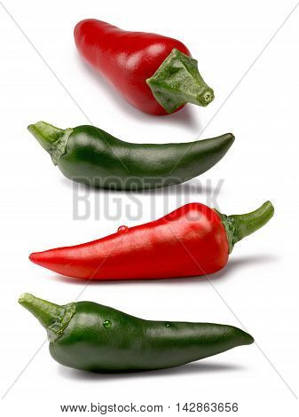 Set Of Red And Green Peppers, Paths