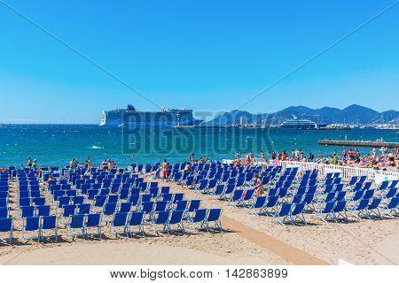 City Beach Of Cannes, Cote Dazur, France