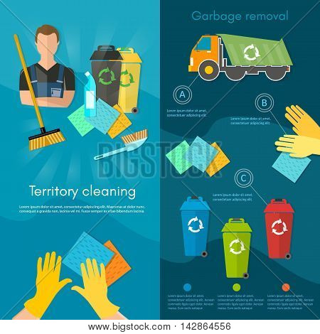 Garbage truck dumpster and workers banner sorting waste for recycling separation of waste on garbage bins vector