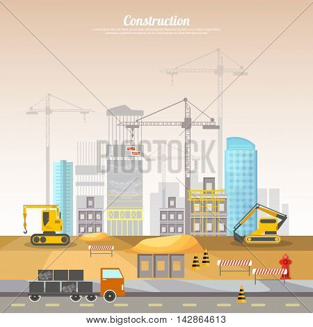 Construction site building house technical vector illustration. Under construction concept.