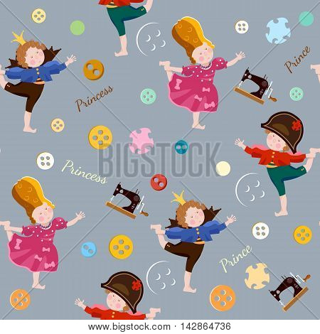 Funny kids seamless pattern playing prince and princess children's theater scrapbooking background