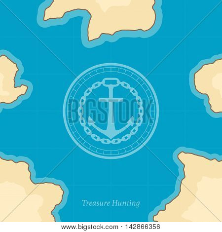 Treasure map with islands. Vector background for game interface
