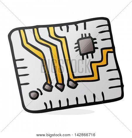 freehand drawn cartoon computer circuitboard