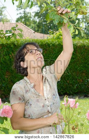 a middle-aged woman with glasses in the garden