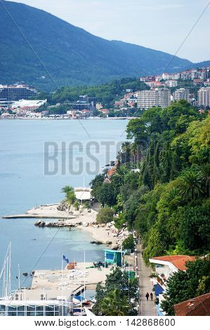 Top view of the coastal part of the city of Herceg Novi, Montenegro