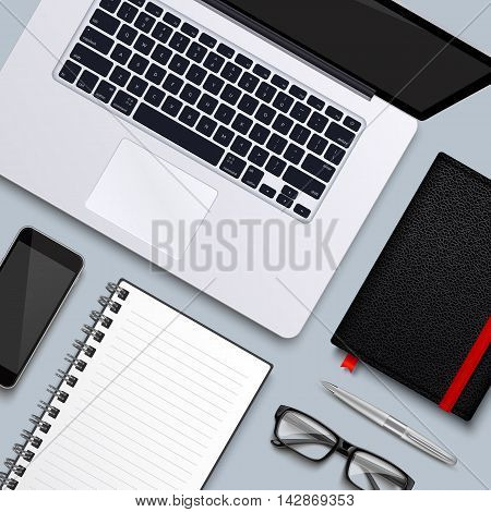 Office desk table with laptop, glasses, pen, notebooks and phone . Top view desktop. Eps10 vector template.