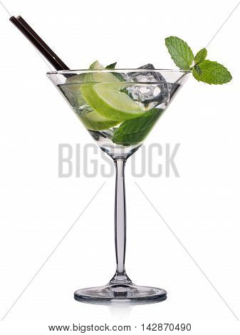 Mojito cocktail in martini glass isolated on white background.