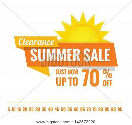 Summer Sale Orange Tag Heading Design On White For Banner Or Poster. Sale And Discounts Concept. Vec