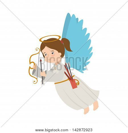 angel arch arrow cartoon heaven musical instrument halo wing  vector  isolated illustration