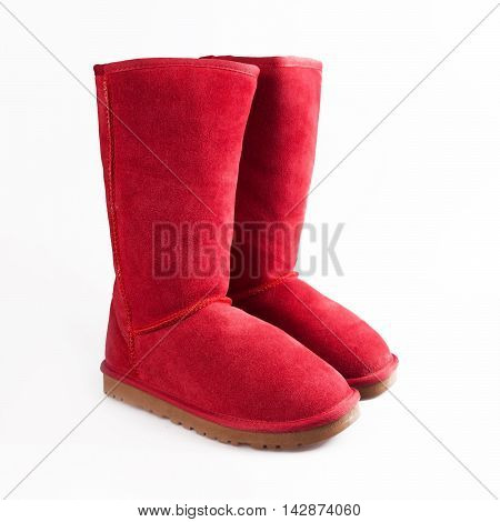 red Fashion winter boots in white background