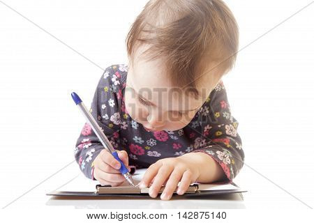 child signs a contract (humorous picture) closup