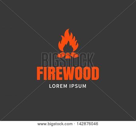 Firewood emblem or logo template. Campfire vector illustration