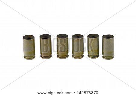 9 mm caliber pistol old bullet on white background