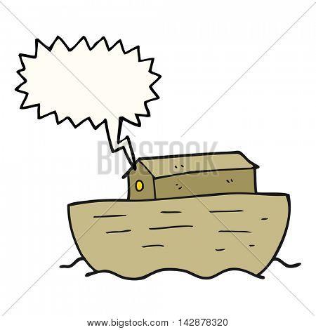 freehand drawn speech bubble cartoon noah's ark