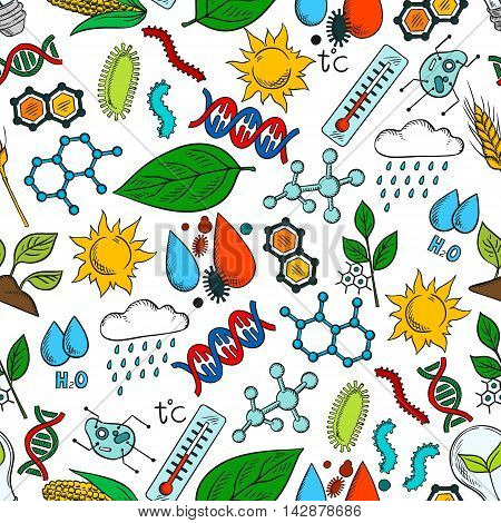 Nature ecosystem and natural phenomena seamless background. Wallpaper with vector pattern icons of organic elements wind, rain, dna, cell, bacteria, microbe, microorganism, molecule, plant, sun, water thermometer