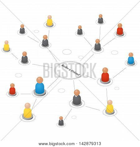Refer a friend. Concept of referrals and followers on the Internet and business. Isometric abstract group of people. Teamwork icons. Successful leader and Manager. Vector illustration.