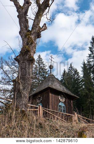 Old wooden church at village Cierny Vah Slovakia