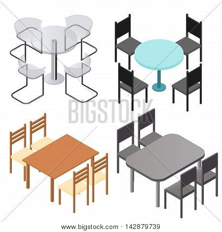 Set of chairs and and tables. Flat isometric. Wood products. Design for the kitchen interior room cafe or restaurant. Modern fashion design. Isolated on white background. Vector illustration.