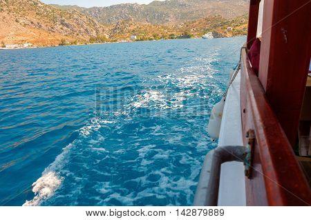 Side of a boat on the waving sea Turkey