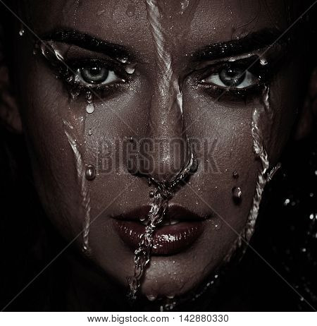 closeup Wet woman face with water drop.